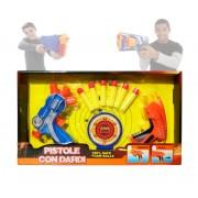 Set di due pistole a tripla canna con 6 dardi soft e doppio bersaglio armi giocattolo 2608