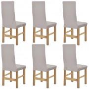 vidaXL разтегателни калъфки за столове, 6 броя, бежов релефен плат