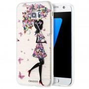Husa de protectie silicon CASEIER Flower pentru Samsung Galaxy S6 Edge, Auriu