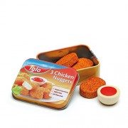 Wooden Play Food - Chicken Nuggets Iglo with ketchup in a tin