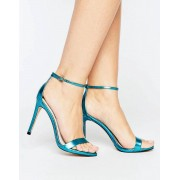 Steve Madden Stecy Metallic Blue Barely There Heeled Sandals - Blue metallic (Sizes: UK 5)