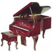 Aztec Imports Dollhouse Miniature Louis Xv-Look Grand Piano With Stool