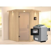 KARIBU Sauna Systemsauna Larin satiniert mit Dachkranz inkl. 9 kW Saunaofen ext. Steuerung