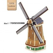 3D DIY Wooden Puzzles Holland Windmill Model Toy and Hobby for Kids