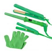 FULL 3 PIECE SET with MINI HAIR STRAIGHTENER (Green)