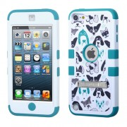 Funda Protector triple layer Apple Ipod 5 Blanco / Aqua cachorros c/ pie metalico