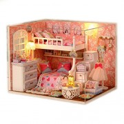Saffire Wood Dollhouse Miniature DIY Kit Dolls House Room with Cover and LED 3d Wood Toy Angel Dream