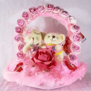 Beautiful Pink Imported Rose Handle Heart with Love Couple Teddy Bears