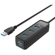 ORICO Portable Superspeed USB 3.0 4-Port Hub With Built-in 8 inch USB 3.0 Cable for Laptop Mac PC (W5PH4-U3)