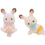 Jucarie Sylvanian Families Chocolate Rabbit Twin Set Pram