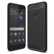 Huawei P10 Lite Brushed Carbon Fiber Texture Shockproof TPU Protective Cover Case (Black)