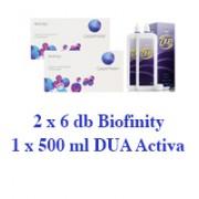 Biofinity (2x6 db) + 1db ápolószer ingyenes szállítással