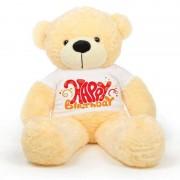 Peach 5 feet Big Teddy Bear wearing a Happy Birthday T-shirt