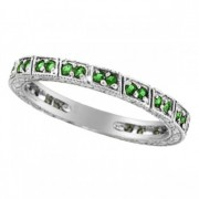 Emerald Stackable Ring Band 14k White Gold by Morris & David