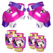 """STAMP J100035 - Set Pattini a rotelle + Cavigliere e ginocchiere """"Minnie"""", Taglia: 23-27"""