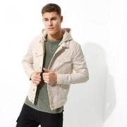 River Island Stone jersey hooded denim jacket