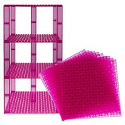 Premium Clear Magenta Stackable Base Plates - 10 Pack 6 x 6 Baseplate Bundle with 80 Clear Magenta Bonus Building Bricks (LEGO Compatible) - Tower Construction