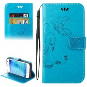 For Samsung Galaxy J1 Ace / J110 Crazy Horse Texture Printing Horizontal Flip Leather Case with Holder & Card Slots & Wallet & Lanyard(Blue)