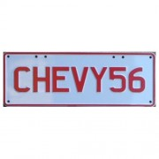 """Novelty Number Plate - Chevy56 Red On White"""