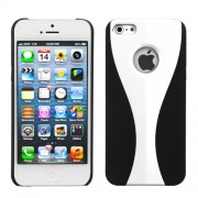 Protector Iphone 5 Negro con Franja Blanca