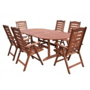 Set masa si sase scaune HECHT PRAGUE lemn masiv
