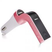 MOKE Nuevo kit de coche reproductor de MP3 sin hilos del LCD FM del modulador del transmisor del cargador del coche de Bluetooth (Rosado)