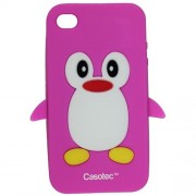 Casotec Penguin Silicone Jelly Back Case Cover for Apple iPhone 4G / 4S - Deep Pink