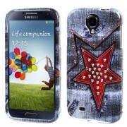Funda Protector Samsung Galaxy S4 Mezclilla Estrella Roja Con Estoperoles