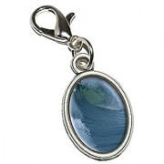 Graphics and More Ocean Wave - Surf Surfing Surfer Antiqued Bracelet Pendant Zipper Pull Oval Charm with Lobster Clasp