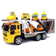 Construction Tow Trailer Childrens Kids Friction Toy Truck Ready To Run w- 6 Mini Toy Construction Trucks No Batteries