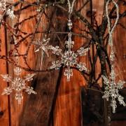 Decoratiune brad-stea cu snur argintiu