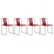 Lote de 4 sillas de exterior diseño metal rojo TENERIFE - Miliboo