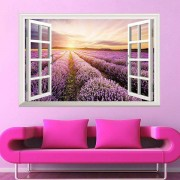 rosegal SRural Sunrise 3D Faux Window Wall Sticker For Living Room