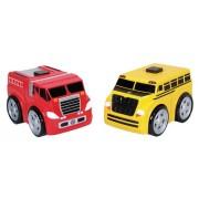 Kid Galaxy Ratchet Racers Fire Truck/School Bus Set