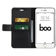 boo iPhone 6 Carbon Fiber Wallet Flip Case + Free Tempered Glass Screen Protector Black