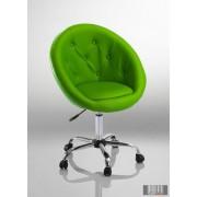 Elegáns guruló bárfotel, kozmetikus szék, fordrász szék, zöld