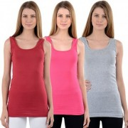 NumBrave Maroon Pink Grey Tank Tops Combo