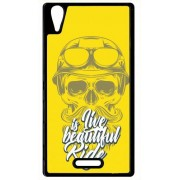 Coque Sony Xperia T3 Life Is Beautiful Ride Tete Entiere Fond Jaune
