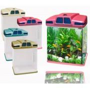 Acquario in plastica rigida 6 litri 19 x 15 x 27 cm luci led 4w con filtro vari colori risparmio energetico