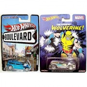 Double Demon Wolverine Hot Wheels & Boulevard 2 Car Set -Pop Culture Marvel Comics 2015 Real Rider Tires in PROTECTIVE CASES
