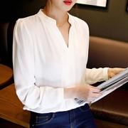 Mulheres Camisa Casual Simples Outono,Sólido Branco Decote V Manga Longa Média