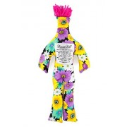Dammit Doll - Classic Dammit Doll - Beau Cadeau - Black Floral, Orange Hair - Stress Relief, Gag Gift