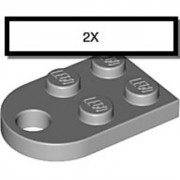 LEGO 2 x 3 Coupling Plate with Hole and Curved End Light Bluish Gray (qty 2)