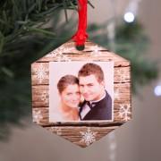 Fényképes karácsonyfadísz, hatszög alakú