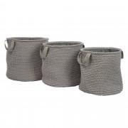 Set de 3 paniers ronds en corde et coton gris