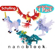 Nanoblock Building Blocks Mysticxal Creatures Complete Gift Set Bundle Including Dragon, Unicorn, Pegasus & Phoenix - 4 Pack