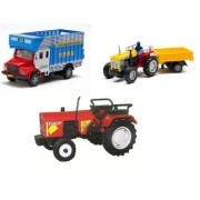 Centy Pack Of 3 Rural Vehicles Eicher Tractor Tractor With Trolley Public Truck