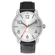 "Projects Watches (Michael Graves) ""Witherspoon Steel"" Acero Inox Plata Negro Cuero Reloj Hombre"