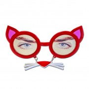 Red Cat Glasses With Whiskers