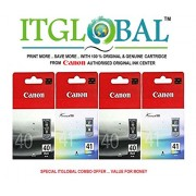 CANON PG 40 Black & CL 41 Color - 2 Each [Set of 4 Cartridge]-Special ITGLOBAL Combo With Scratch & Win Reward Offer - From ITGLOBAL